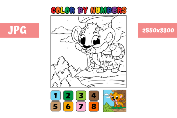 Print on Demand: Coloring Page - Color by Numbers Tiger Graphic Coloring Pages & Books Kids By MyBeautifulFiles - Image 1