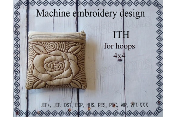 Cosmetic Bag - Rose Sewing & Crafts Embroidery Design By ImilovaCreations