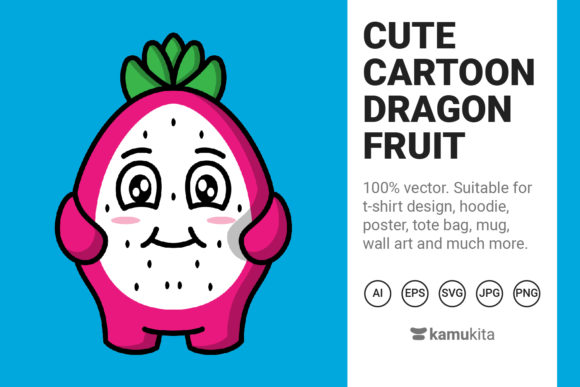 Download Free Cute Cartoon Dragon Fruit Graphic By Kamukita Creative Fabrica for Cricut Explore, Silhouette and other cutting machines.