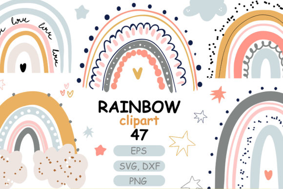 Print on Demand: Cute Pastel Baby Rainbow Clipart Graphic Illustrations By Zolotovaillustrator