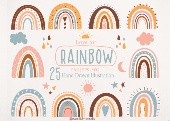 Cute Rainbow Clipart Files Graphic Illustrations By EssentiallyNomadic