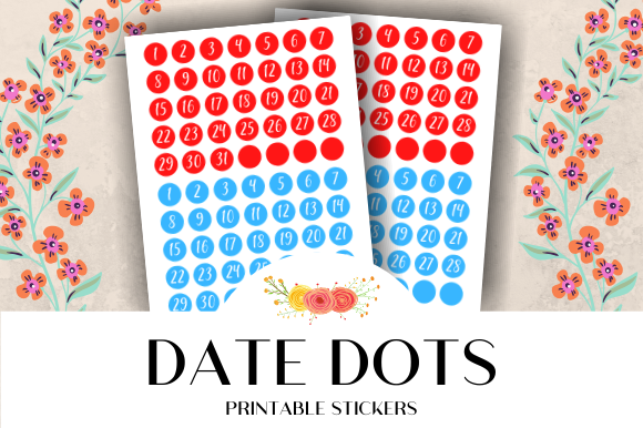 Print on Demand: Date Dots Calendar Printable Stickers Graphic Crafts By atlasart