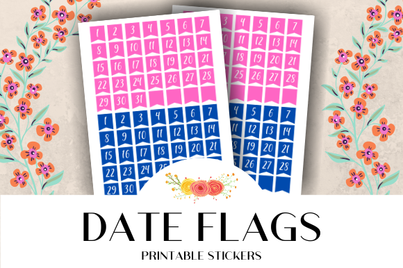 Download Free Date Flags Calendar Printable Stickers Graphic By Atlasart for Cricut Explore, Silhouette and other cutting machines.