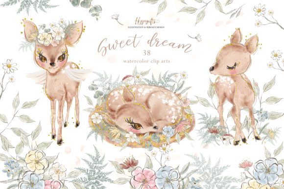 Deer Watercolor Clip Arts Graphic Illustrations By Hippogifts
