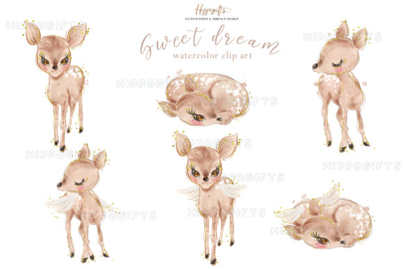 Deer Watercolor Clip Arts Graphic Illustrations By Hippogifts - Image 2