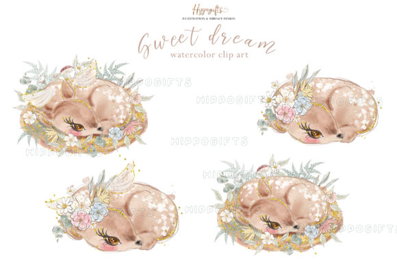 Deer Watercolor Clip Arts Graphic Illustrations By Hippogifts - Image 3