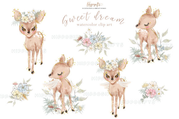 Deer Watercolor Clip Arts Graphic Illustrations By Hippogifts - Image 4
