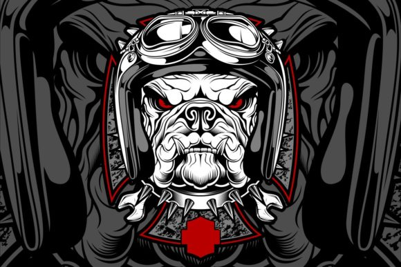 Dog, Bulldog Wearing a Motorcycle Graphic Illustrations By Epic.Graphic