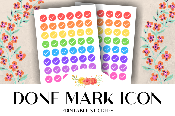 Download Free Done Mark Icon Printable Stickers Graphic By Atlasart Creative for Cricut Explore, Silhouette and other cutting machines.