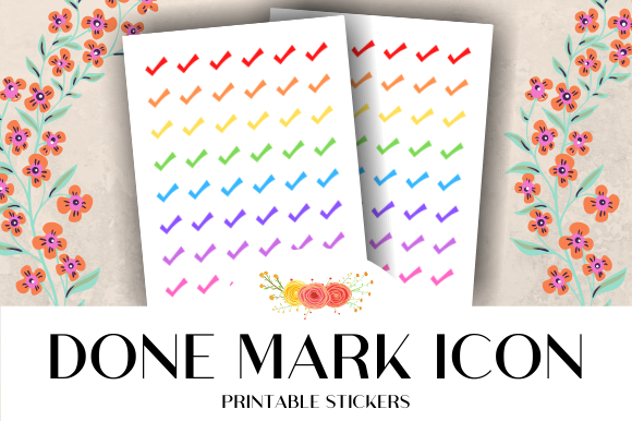 Print on Demand: Done Mark Icon Printable Stickers Graphic Crafts By atlasart