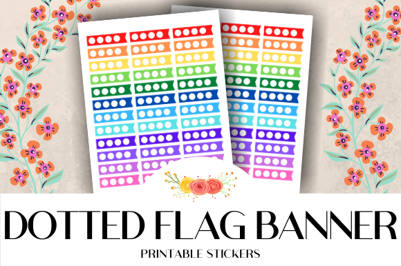Download Free Dotted Flag Banner Printable Stickers Graphic By Atlasart for Cricut Explore, Silhouette and other cutting machines.