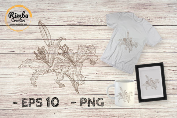 Engraving Drawing Orchid Flower Graphic By Rimbu Creative