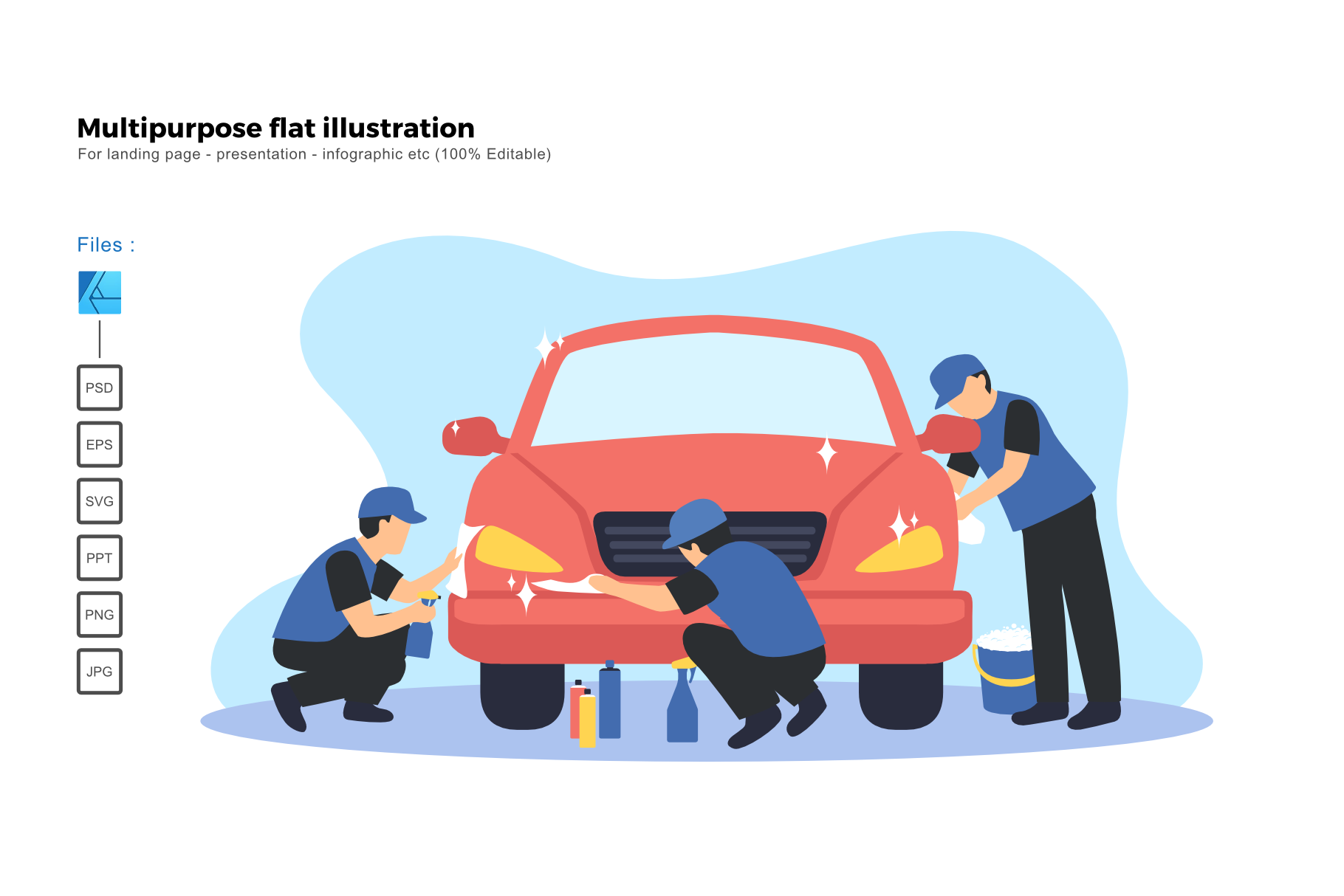 Download Free Flat Illustration Car Spa Coating Servic Graphic By Rivatxfz for Cricut Explore, Silhouette and other cutting machines.