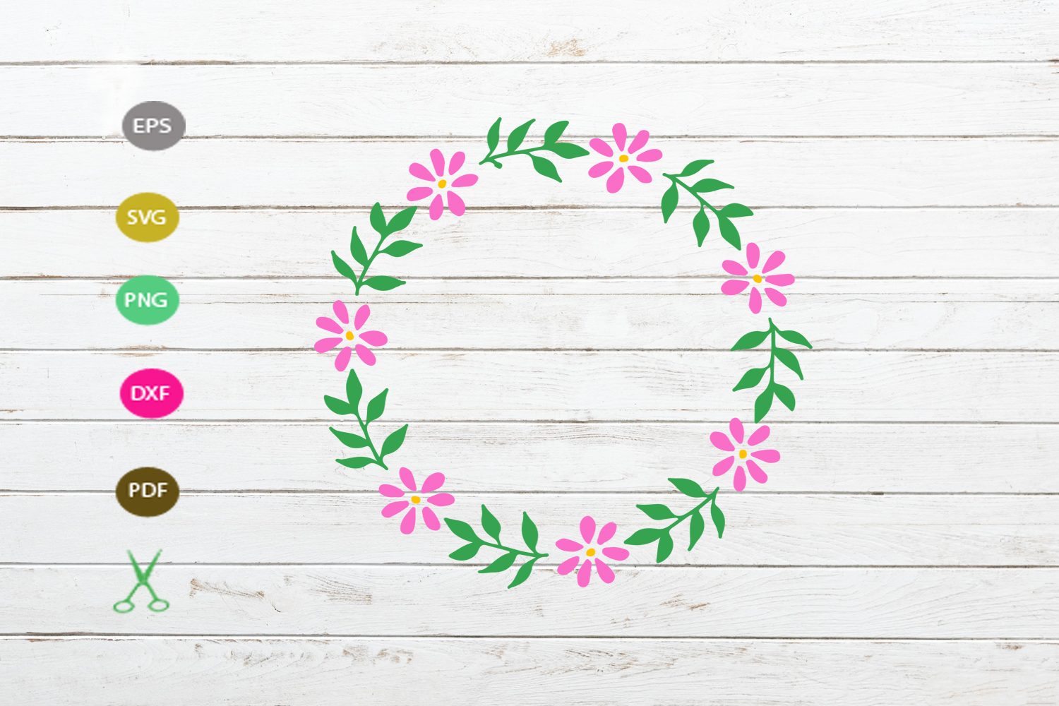 Download Free Flower Frame Wreath Graphic By Scmdesign Creative Fabrica for Cricut Explore, Silhouette and other cutting machines.