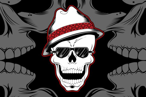 Download Free Gangster Skull Wearing Fedora Hat Graphic By Epic Graphic for Cricut Explore, Silhouette and other cutting machines.