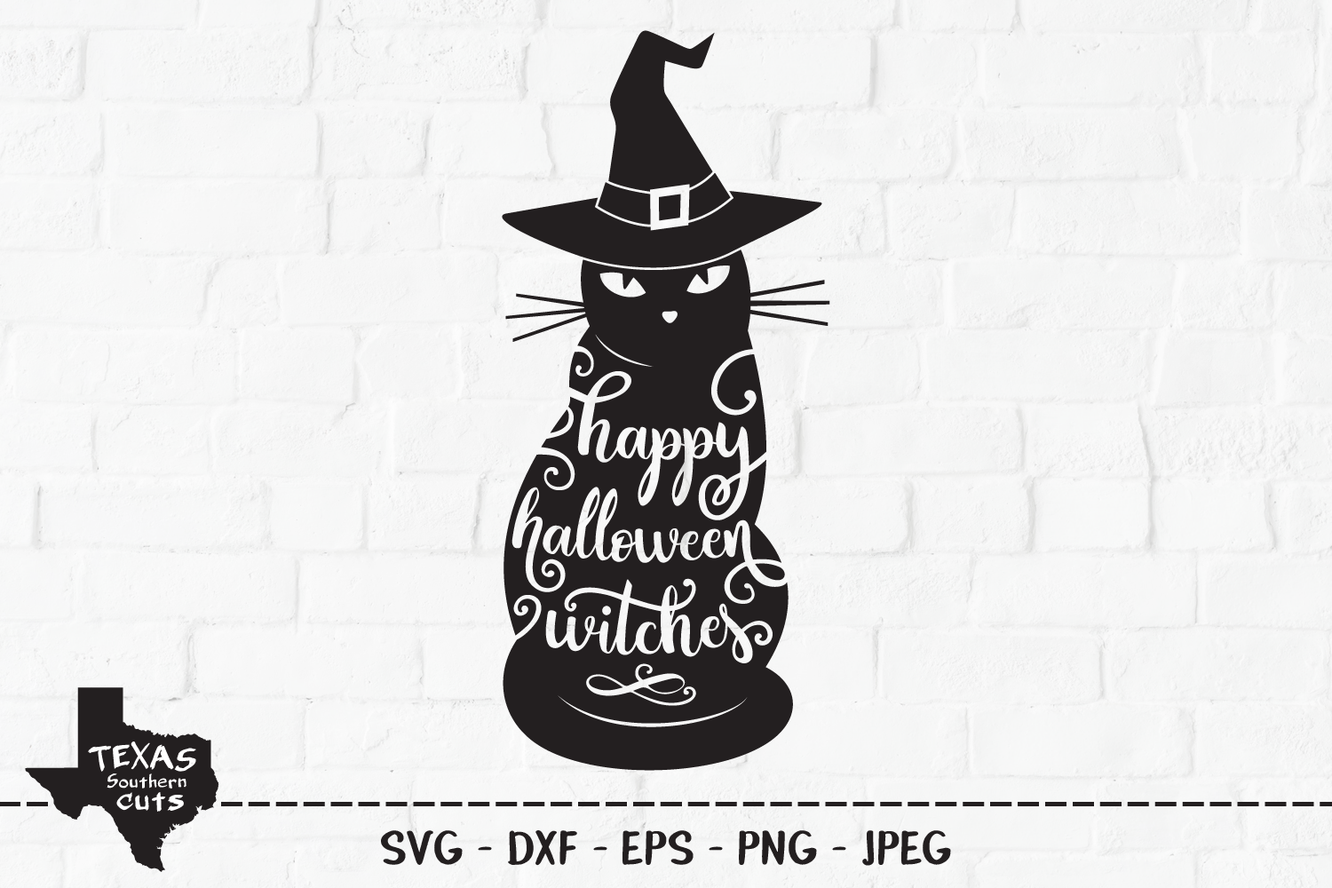 Download Free Happy Halloween Witches Cat Design Graphic By for Cricut Explore, Silhouette and other cutting machines.
