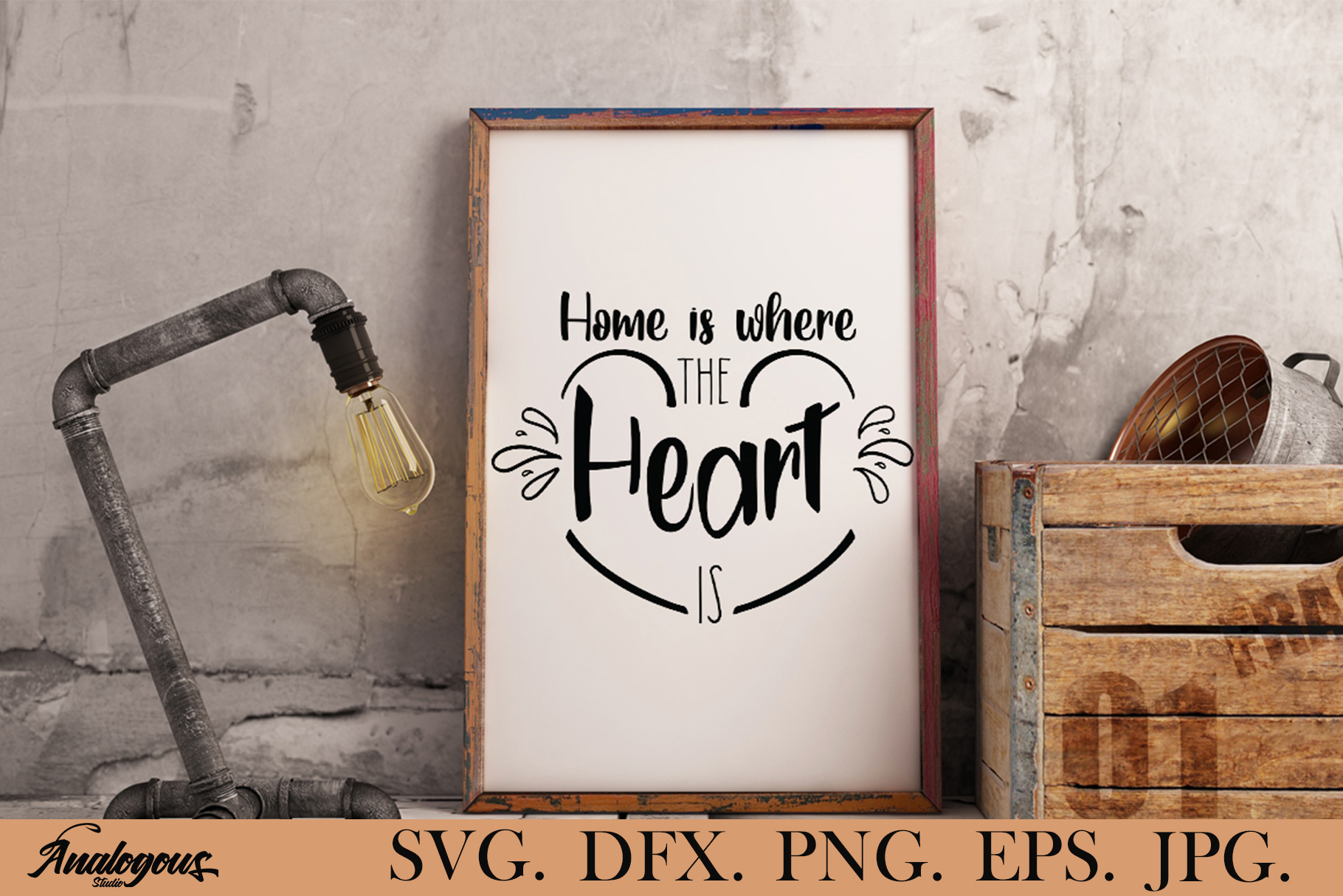 Download Free Home Home Is Where The Heart Graphic By Analogous Creative for Cricut Explore, Silhouette and other cutting machines.