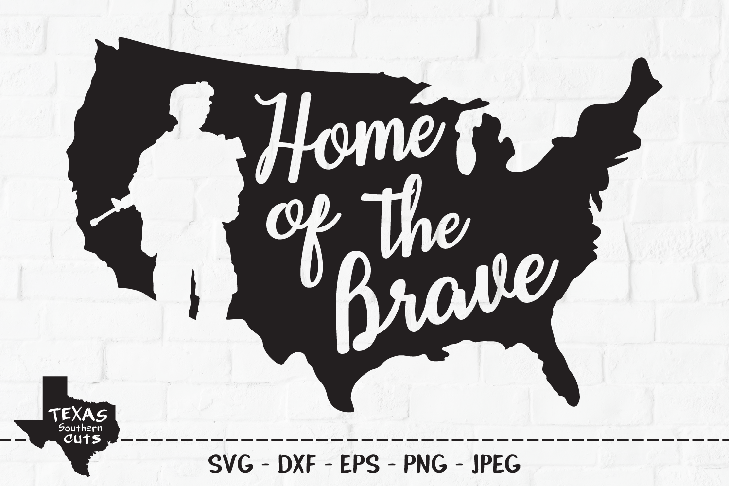 Download Free Home Of The Brave Patriotic Design Graphic By for Cricut Explore, Silhouette and other cutting machines.