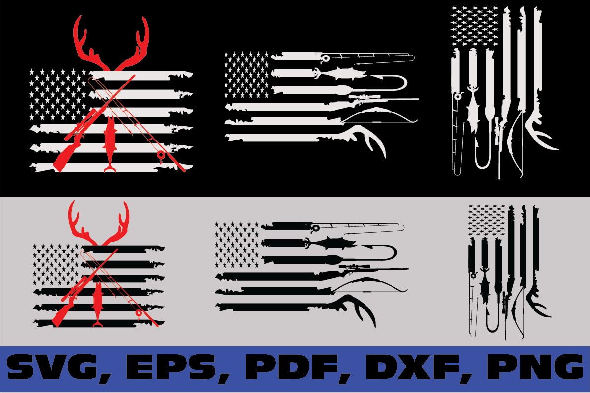 Download Free Hunting And Fishing American Flag Graphic By Dodo2000mn1993 for Cricut Explore, Silhouette and other cutting machines.