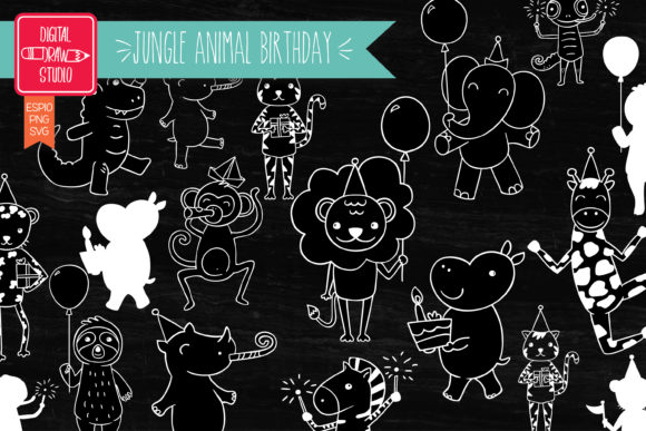 Jungle Animal Birthday Characters White Graphic Illustrations By carmela_giordano