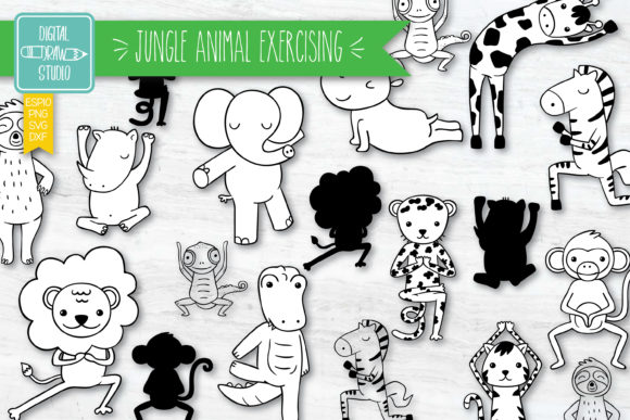 Jungle Animal Exercising Characters Graphic Illustrations By carmela_giordano
