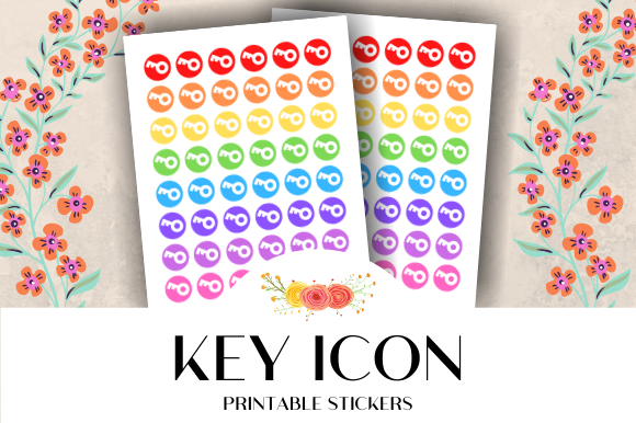 Print on Demand: Key Icon Printable Stickers Graphic Crafts By atlasart