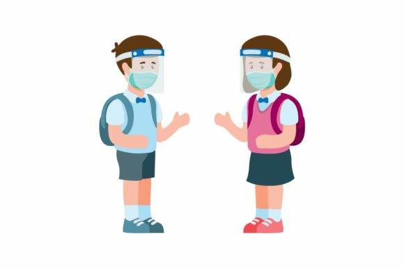 Print on Demand: Kids Go to School Wear Face Shield Mask Graphic Illustrations By aryo.hadi