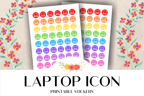 Print on Demand: Laptop Icon Printable Stickers Graphic Crafts By atlasart