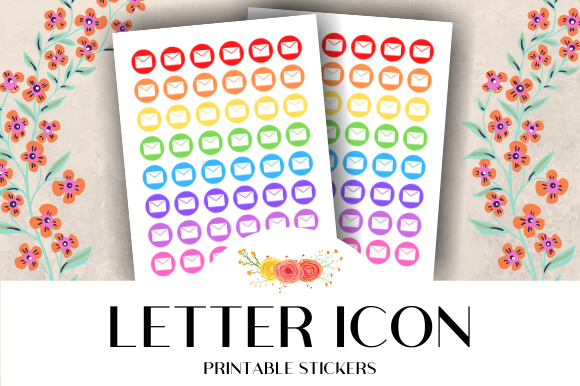 Letter Icon Printable Stickers Graphic By Atlasart Creative Fabrica