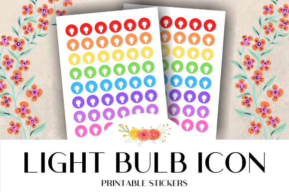 Print on Demand: Light Bulb Icon Printable Stickers Graphic Crafts By atlasart