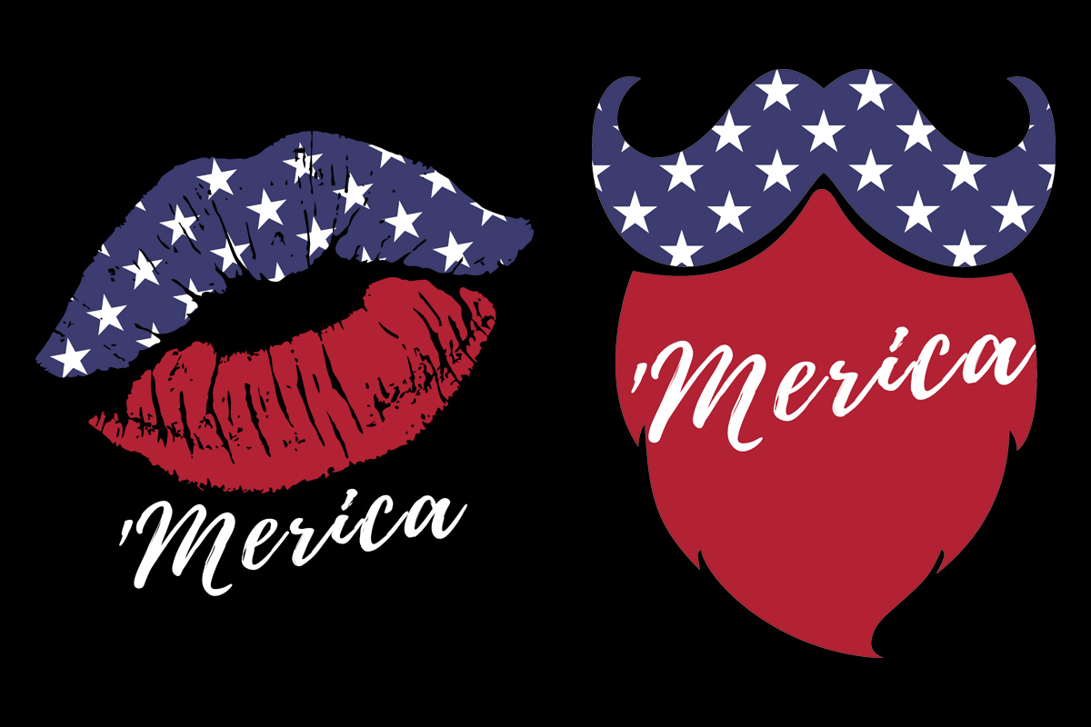Download Free Lips Beard Mustache 4th Of July Couples Graphic By Sunandmoon for Cricut Explore, Silhouette and other cutting machines.