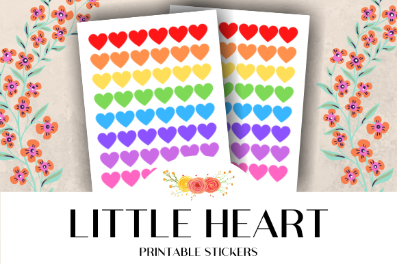 Download Free Little Heart Icon Printable Stickers Graphic By Atlasart for Cricut Explore, Silhouette and other cutting machines.