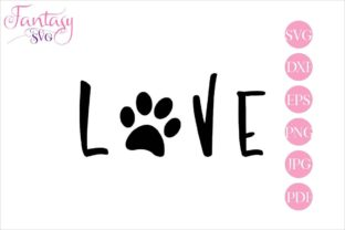 Download Free Love With Paw Graphic By Fantasy Svg Creative Fabrica for Cricut Explore, Silhouette and other cutting machines.