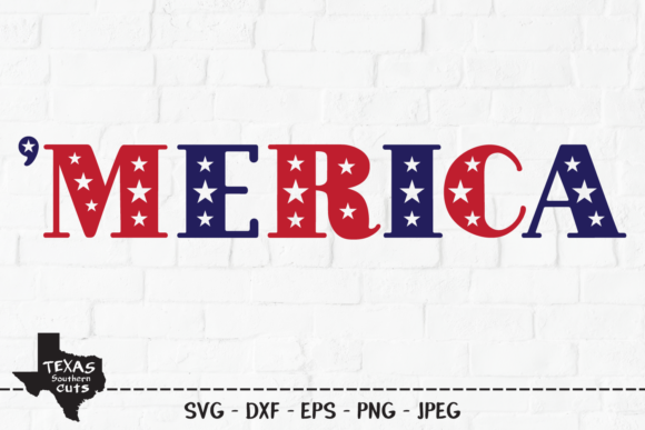 Print on Demand: Merica - Patriotic Shirt Design Graphic Crafts By texassoutherncuts
