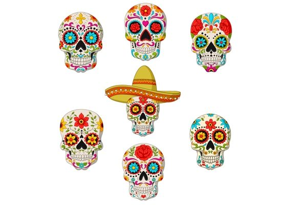 Mexican Sugar Skulls Clipart Set Graphic Graphic Illustrations By tigatelusiji