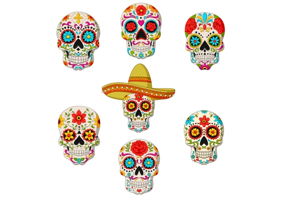 Download Free Mexican Sugar Skulls Clipart Set Graphic Graphic By Tigatelusiji for Cricut Explore, Silhouette and other cutting machines.