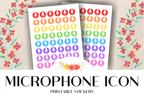 Print on Demand: Microphone Icon Printable Stickers Graphic Crafts By atlasart