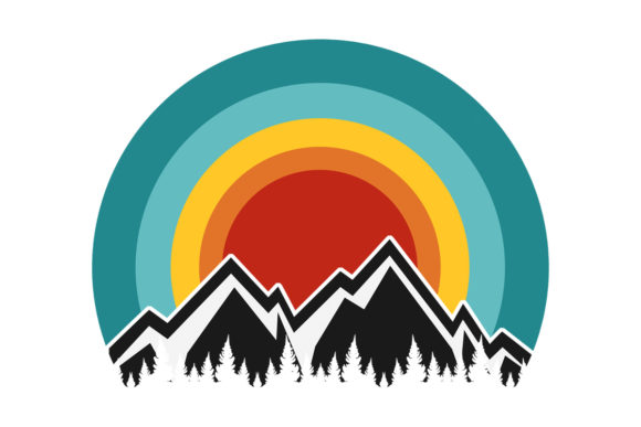 Print on Demand: Mountain Trees Retro Sunset File Graphic Logos By SunandMoon - Image 1