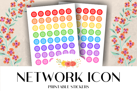 Print on Demand: Network Icon Printable Stickers Graphic Crafts By atlasart