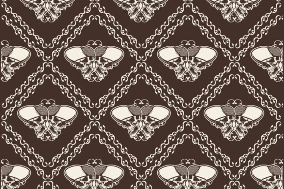 Download Free Ornamental Skull Seamless Pattern Graphic By Epic Graphic for Cricut Explore, Silhouette and other cutting machines.