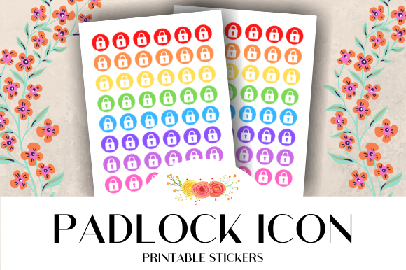 Print on Demand: Padlock Icon Printable Stickers Graphic Crafts By atlasart