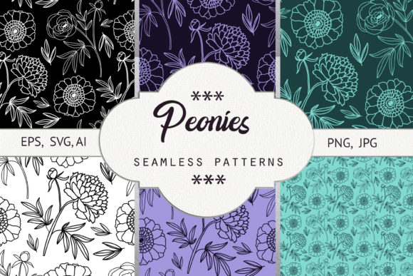 Print on Demand: Peonies. Seamless Patterns Grafik Muster von Natika_art