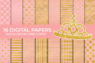 Pink and Gold Foil Digital Papers Set Graphic Backgrounds By TitaTips