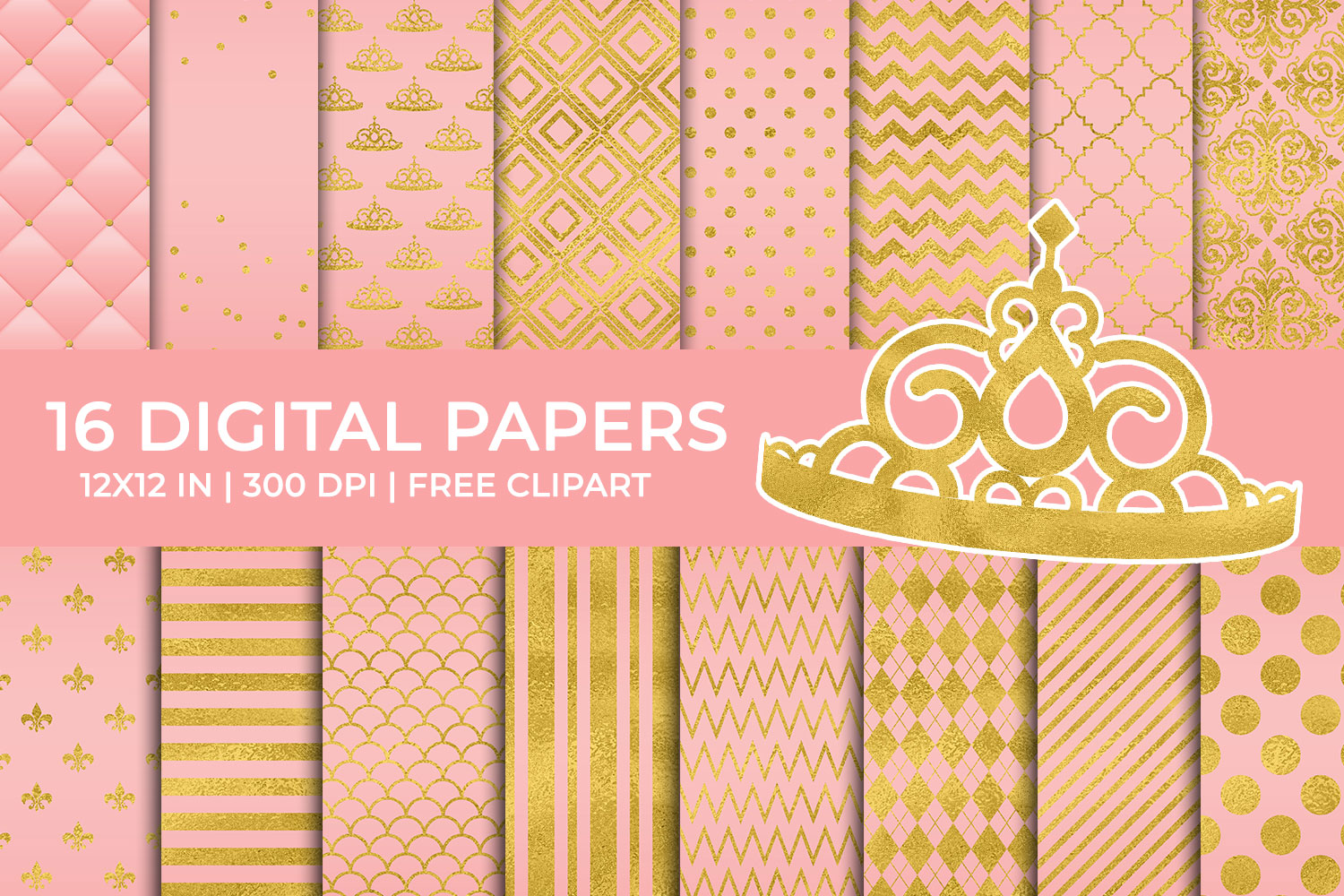 Download Free Pink And Gold Foil Digital Papers Set Graphic By Titatips for Cricut Explore, Silhouette and other cutting machines.