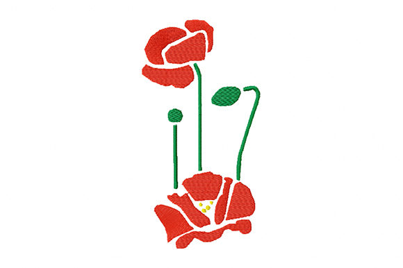 Print on Demand: Poppy Flowers Flowers Bouquets & Bunches Embroidery Design By EmbArt