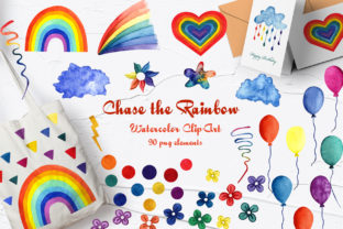 Rainbow Watercolor Clip Art Graphic Objects By BarvArt