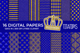 Royal Blue and Gold Digital Papers Graphic Backgrounds By TitaTips
