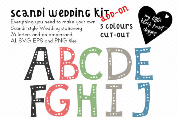 Download Free Scandi Wedding Add On Cut Out Alphabet Graphic By My Little Black Heart Creative Fabrica for Cricut Explore, Silhouette and other cutting machines.