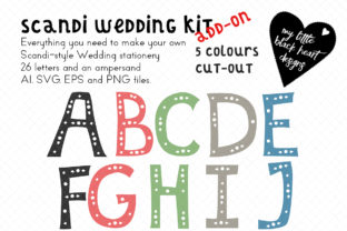 Scandi-Wedding Add-on Cut-out Alphabet Graphic Illustrations By My Little Black Heart