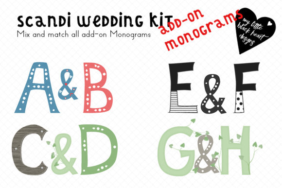 Scandi-Wedding Add-on Leaf Monogram Set Graphic Illustrations By My Little Black Heart